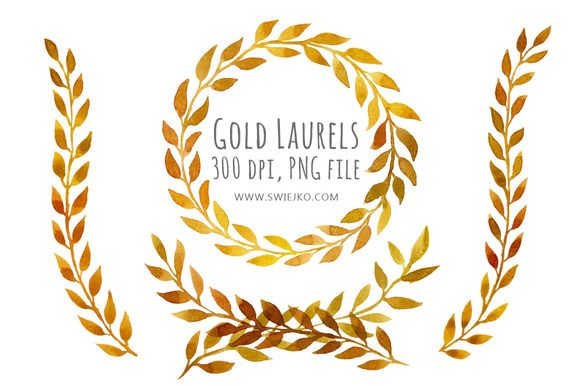 Watercolor Laurels, Gold Clipart by swiejko on Creative Market