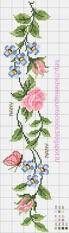 Wildflower forget-me-nots cross stitch.