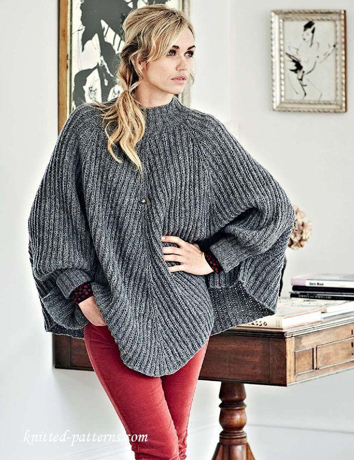 213 best Poncho Knitting Patterns images on Pinterest | Knitting ...
