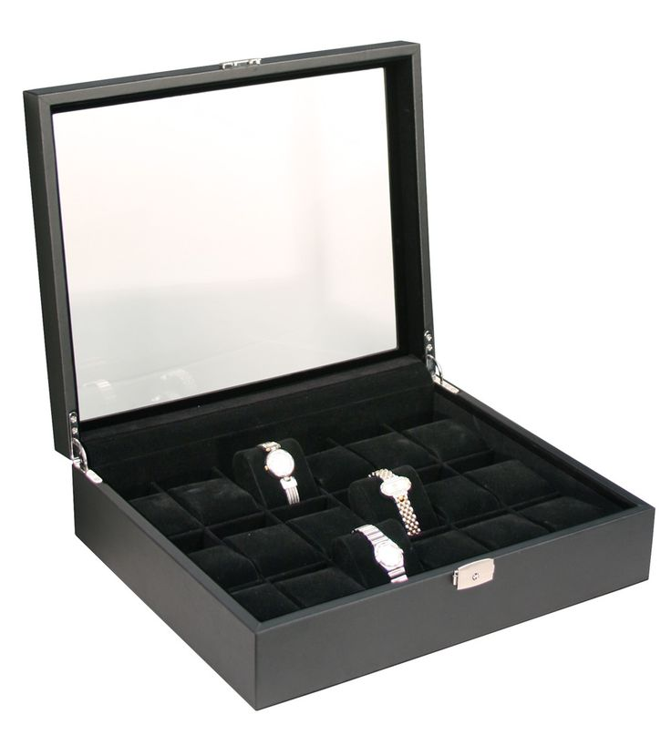(18) Black Leather Watch Box with Glass Top - Watch Box Co. - 1