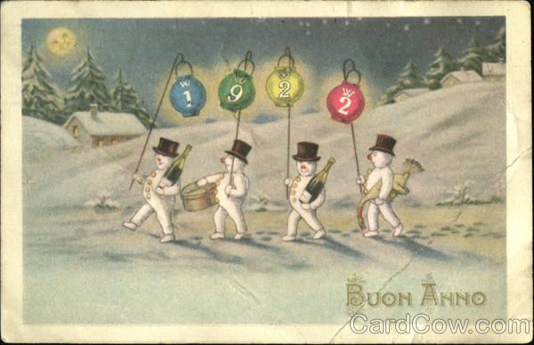 1922 Buon Anno Snowmen New Year's
