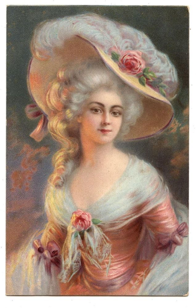 PRETTY GIRL.FEMME.MARQUISE.FEATHER HAT.WOMAN MARCHIONESS.ROSE.CHAPEAU PANACHE
