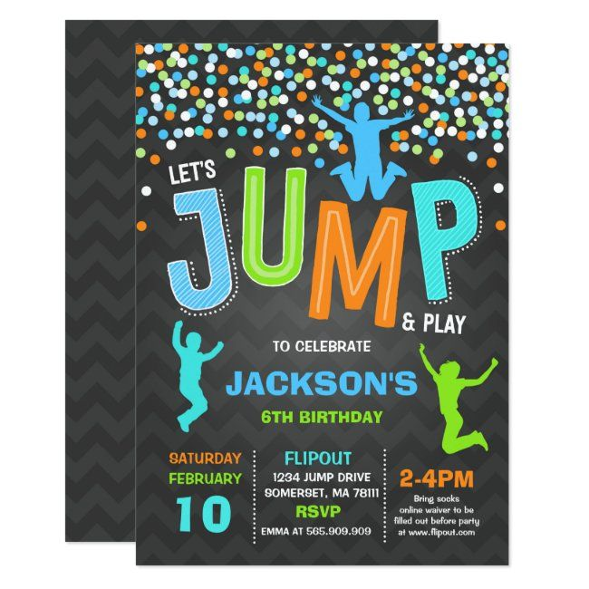 Kid Birthday Green Boys Invite Jumping Party Yellow Black Trampoline Party Jump Printable Party Invitation Bounce House Birthday
