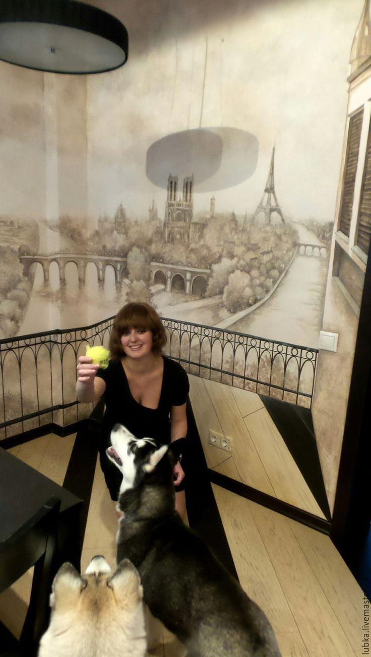 Купить Роспись стен 3d Париж - коричневый, роспись стен сепия, декор стен на кухне
