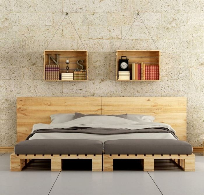 les 25 meilleures id es de la cat gorie lit palette sur. Black Bedroom Furniture Sets. Home Design Ideas