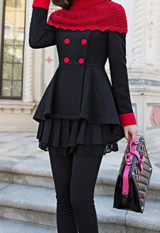 Elegant Classy Black frill Peacoat with Knit Pullover Scarf:: Black and Red:: Winter Fashion:: Vintage Fashion:: Retro Style