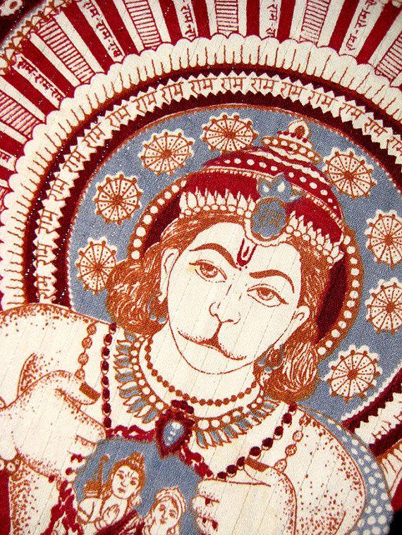 Hanuman Banner  Hindu Deity  Rama & Sita 1960s by MyRetroStuff, $20.00