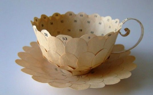 art, recycled art, green art, eco art, sustainable art, cecilia levy, swedish artists, tea cup art, recycled books, book art, green books, g...