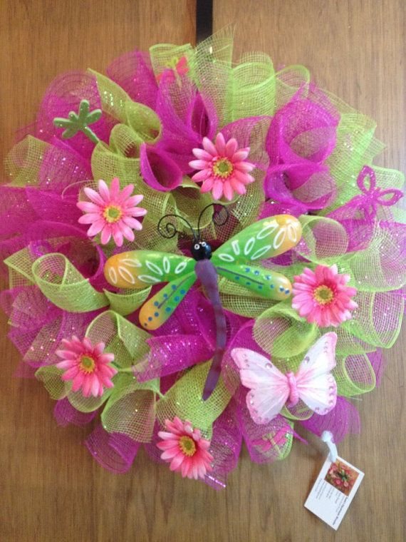 Spring Mesh Wreath with Dragonfly Center by susiedonah on Etsy