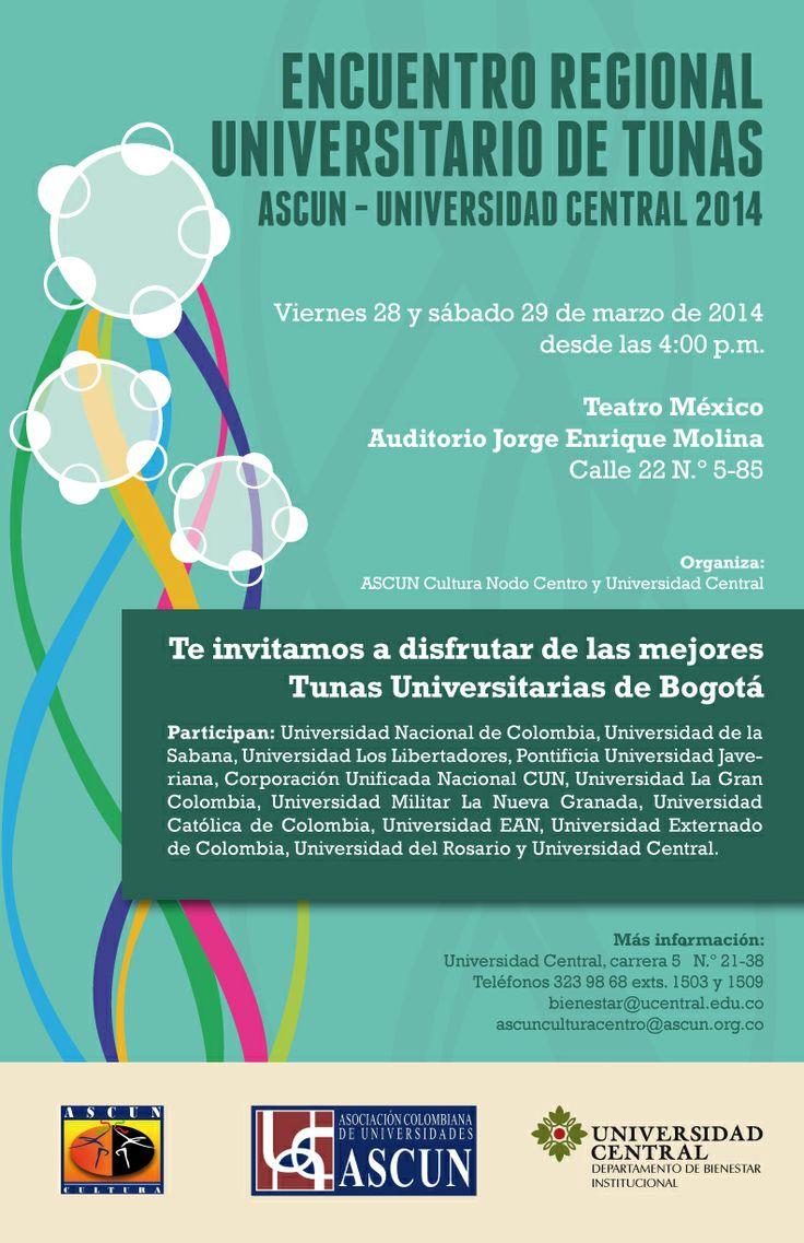 Viernes 28 y Sábado 29 de marzo acompañemos a nuestra Tuna Universitaria en el Encuentro Regional Universitario de Tunas de Ascun. #OrgulloUCatólico