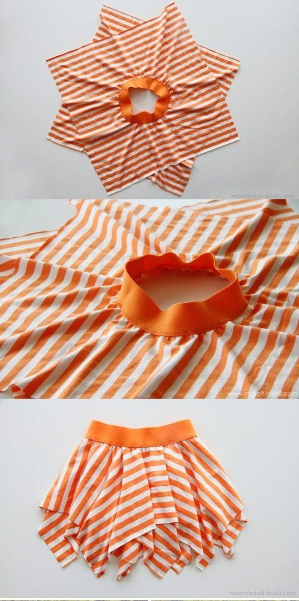 Cute and easy DIY skirt  Comment coudre une jupe à partir de l'avant et l'arrière d'un t-shirt en découpant deux carrés !
