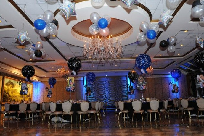 Bar mitzvahs blue black silver balloon clusters bar for Balloon cluster decoration