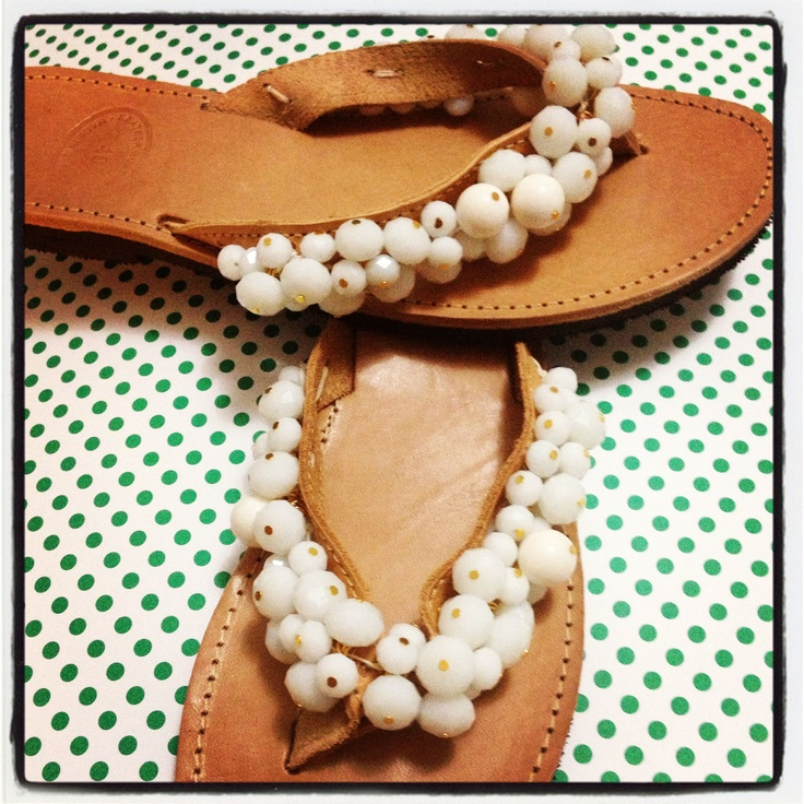 Handmade leather sandals with white crystals and white coral beads. Can be also perfect for bridal sandals.