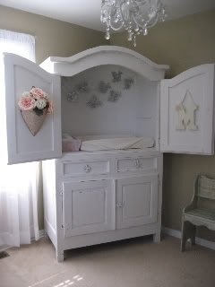 ThanksTV armoire repurposed into diaper changer. Super cool idea with built in storage underneath! awesome pin