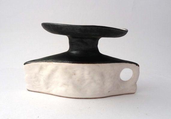 Jitka Forejtova -- Keramo Kostalec -- modernist pottery candleholder -- Czechoslovakian ceramics -- signed