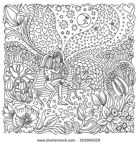 Vector Valentine Day greeting card. Ornate hearts, tulip flower silhouette. Adults coloring book square page. Hand drawn zen tangle contour thin line. Black and white sketch. T-shirt print. Batik