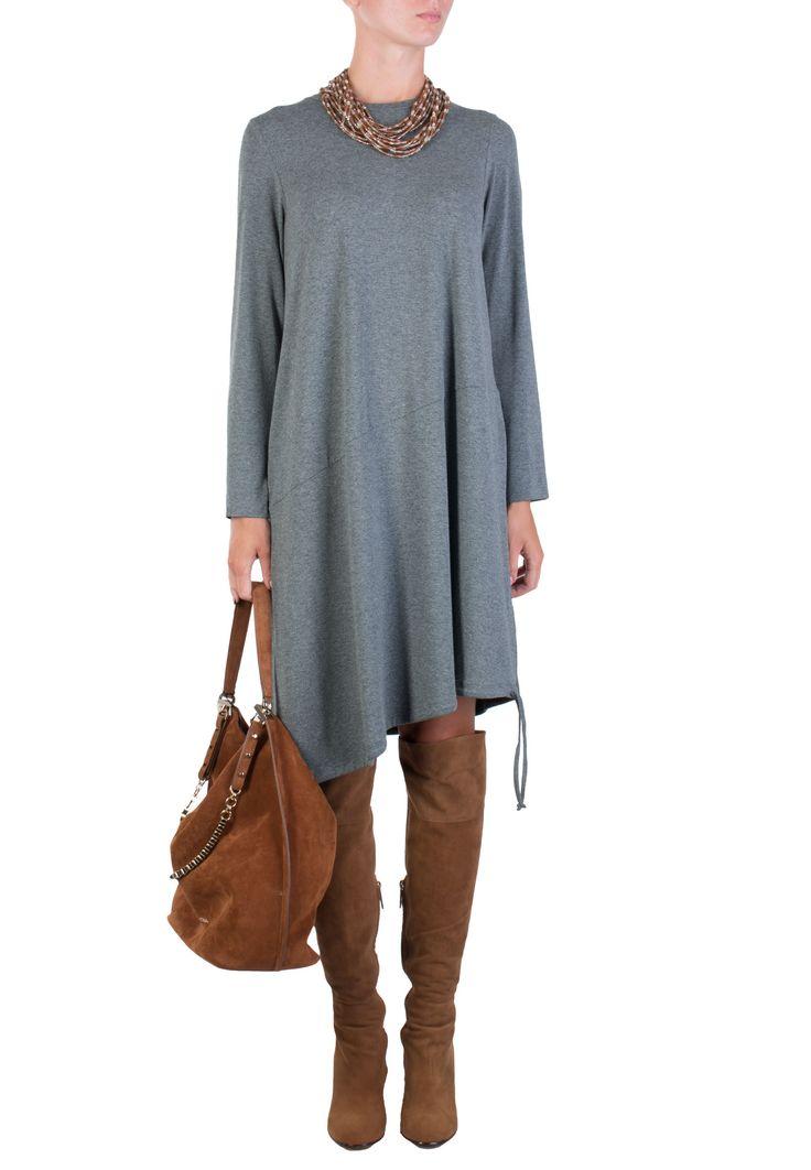 Серое Платье PERSONA BY MARINA RINALDI - купить по цене 12900 рублей - Elyts.ru