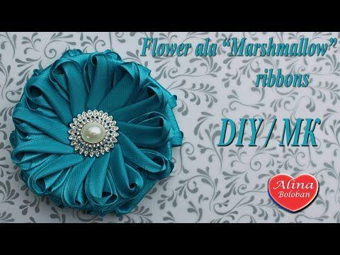 "Цветок ""аля Зефирка"" из лент. Мастер класс / Flower ""ala Marshmallow"" ribbons - YouTube"