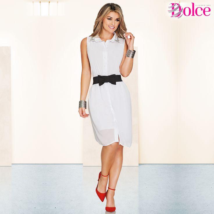 El #vestido #blanco es pieza fundamental de un guardarropa con #estilo. luce siempre bien con este atuendo.  Mas información en www.catalogodolce.com