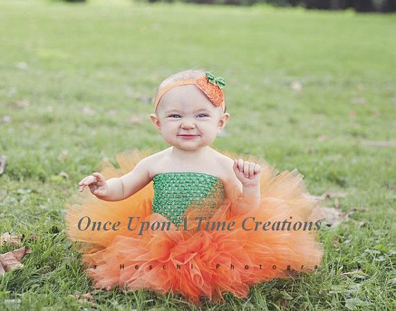 Little Pumpkin Tutu Dress - Newborn 3 6 9 12 Months ... Halloween Birthday, Photo Prop, Dress Up, Costume, Gift - Baby Girl Orange & Green on Etsy, $24.99
