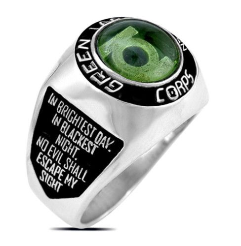 3664 Silver Plated Green Lantern Corps Oath Ring