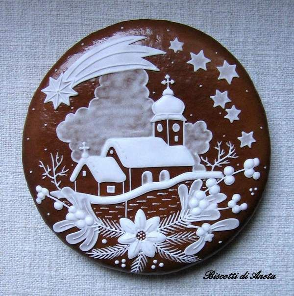 biscotto decorato manualmente con ghiaccia reale ideale per le feste Natalizie