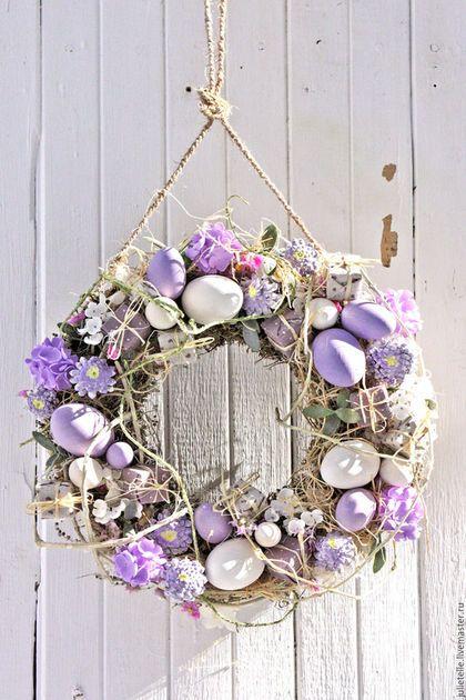 Easter wreath / Подарки на Пасху ручной работы. Ярмарка Мастеров - ручная работа. Купить Пасхальная композиция. Handmade. Сиреневый, европейская пасха