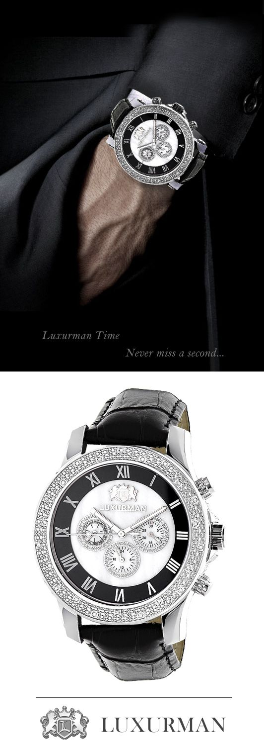 Exclusive Luxurman Watches! This Mens Diamond Watch by Luxurman features 0.25 carats of genuine diamonds, a polished silver stainless steel case with a black genuine leather strap and a white mother of pearl face with three chronograph subdials. This Luxurman diamond watch showcases a fine Japan-made quartz movement and is water-resistant to 30 m (110 ft).