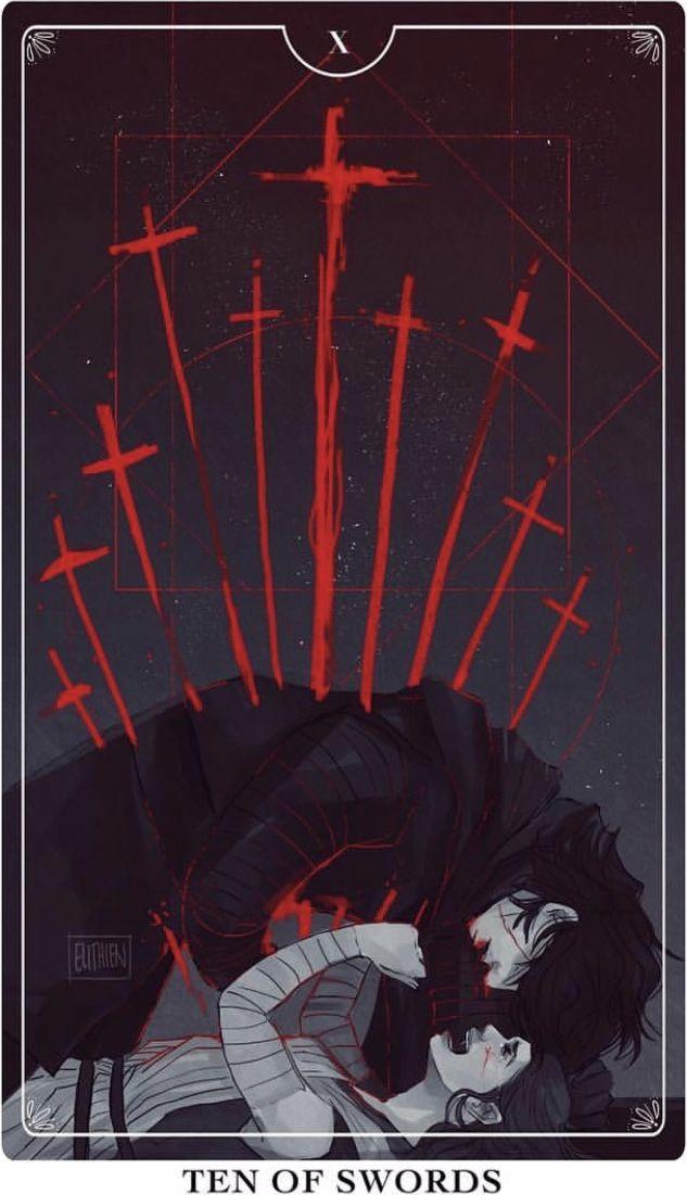 Ten of Swords Tarot Card <<< Ooooo, this hurts.