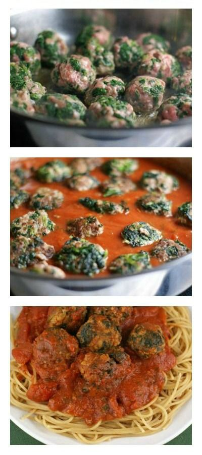 Spinach Meatballs with Spaghetti ~ part of our 31 Days of Skillet Dinner Recipes | 5DollarDinners.com