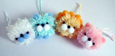 A forkful of fun: Whip up some fuzzy friends with a fork and hang them up on the Christmas tree.