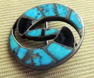 Zuni-Blue-Gem-Turquoise-Jet-Pin-Channel-Inlay-Museum-Quality-c-1940s