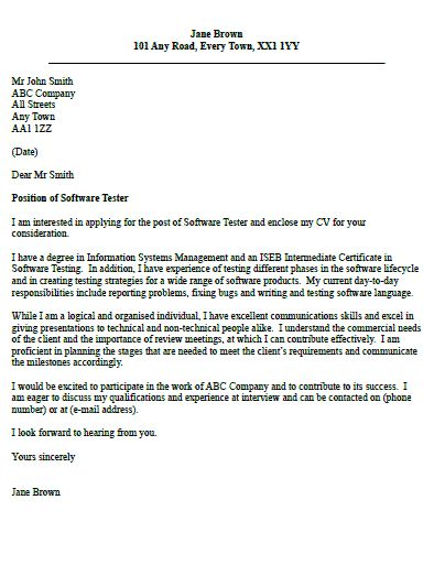 Software Tester Cover Letter Example | Job | Pinterest | Cover ...