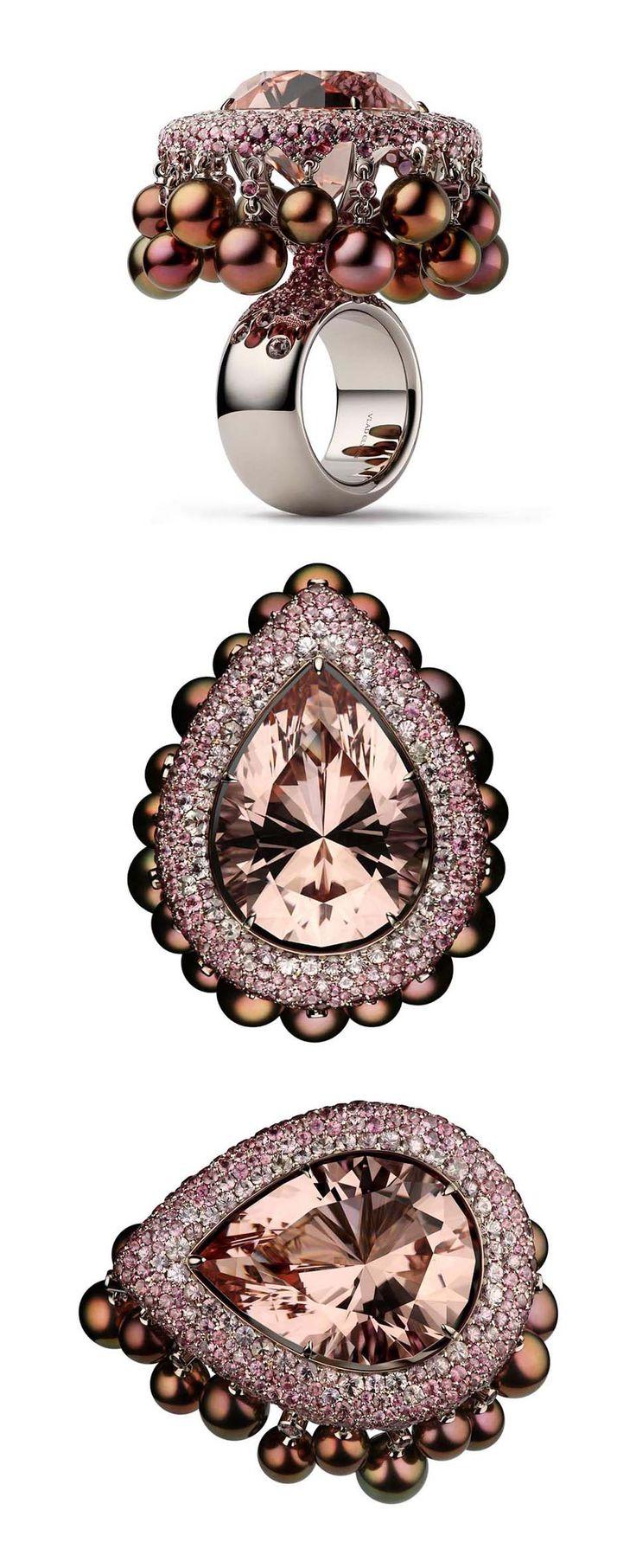 "VLAD GLYNIN jewellery - Ring ""Pomegranate & Mint"", 2016. White gold, morganite, sapphires, pearls. / Кольцо «Гранат и мята», 2016 г. Белое золото, морганит, сапфиры, жемчуг. / Anello «Melograno e menta», 2016. Oro bianco, morganite, zaffiri, perle."