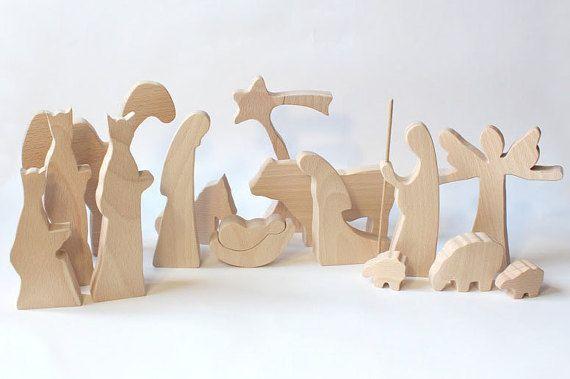 Modern Wooden Nativity - NATURAL Christmas creche Wood nativity Nativity set Nativity scene Nativity figures Nativity silhouette