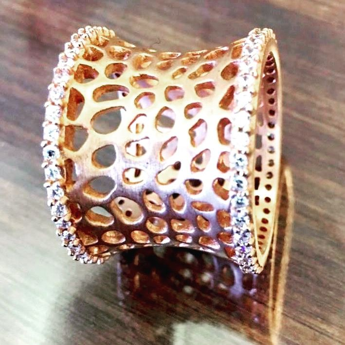 Make a statement with this glorious Cubic Zirconia embedded, Rose Gold beauty. Comes in multiple sizes. #JangiAccessories