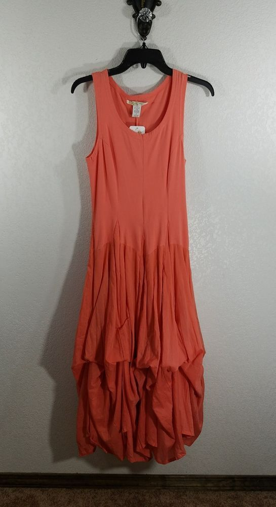 VASNA WOMEN'S DRESS. STYLE: TANK TOP AND BOTTOM IS FULL LENGTH & ROUCHED. FLAW ONE TINY THREAD LOOP THAT IS IN PICTURE . COLOR: ORANGE. HAS TIES UNDER SKIRT THAT CAN BE TIED UP OR UNTIED FOR A LONGER DRESS. | eBay!
