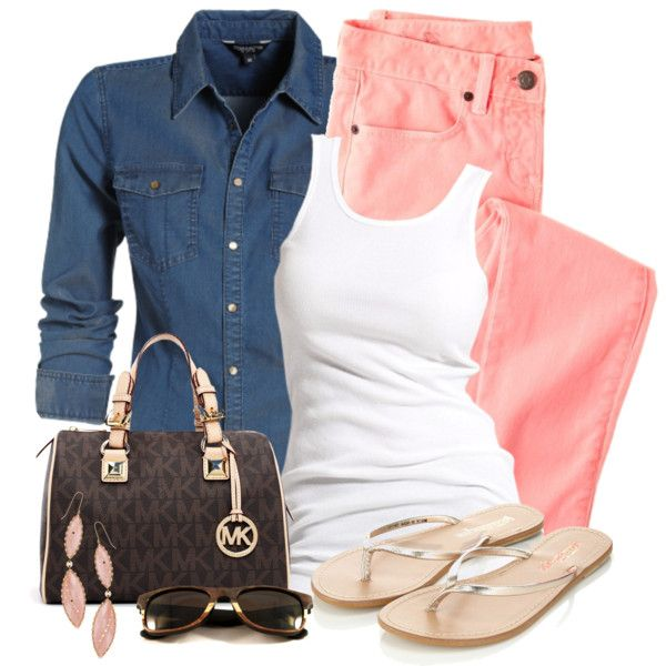 """Denim Top and Colored Jeans"" by wishlist123 on Polyvore"