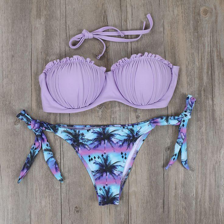 NEW Purple Underwire Swimwear Bikinis Push Up Brazilian Bikini Set Biquini Women Sexy Palm Tree Swimsuit Bathing Suits E300