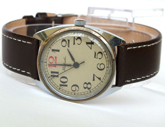 Classic men's dress watch Raketa red twelve. Vintage men's wrist watch. Mechanical gents watch. Grey dial mens watch. Leather watch strap.