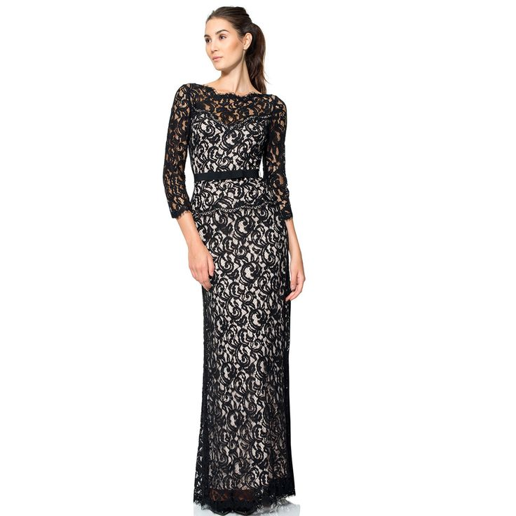 Find More Evening Dresses Information about 2015 beautiful fashion evening dresses with o neck black lace long sleeves womens pageant dress for prom party,High Quality dress lavender,China dress length Suppliers, Cheap dresses for big breasted women from suzhou  helen wedding dress company on Aliexpress.com