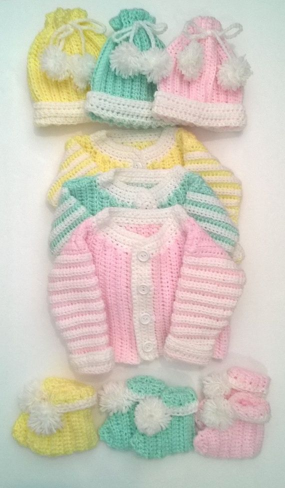 Crochet Newborn Layette Set/Made to Order by SLHandmadeDesigns