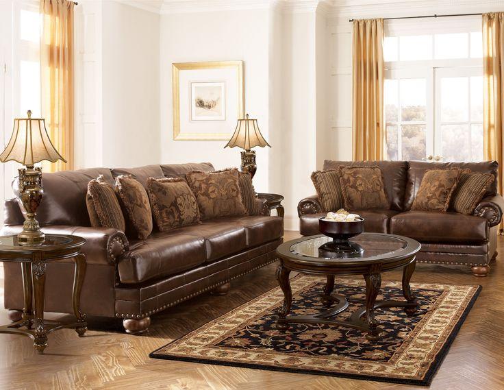 DuraBlend Traditional Antique Leather Living Room Set