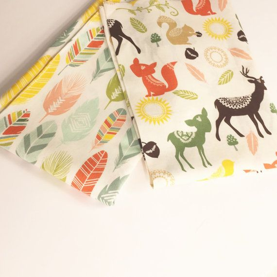 Forest Friends Nursery Fabric with Coral and by BebeFabricStudio