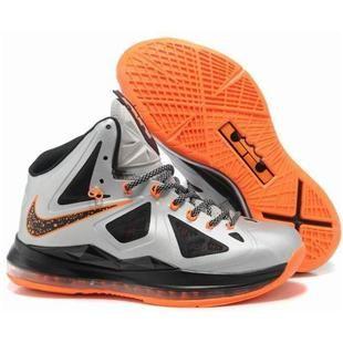 www.anike4u.com/ Cheap Nike Lebron 10 Orange Silver