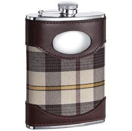 New - Braw Leather, Stainless Steel & Cloth 6oz Flask - VF1119 by Visol. $21.22. Genuine Brown Leather. Captive Top. Dimensions of Flask: 4.54 (Height) x 3.78 (Width) x 0.92 (Thickness). 6 oz. Capacity. Weight of Flask: 4.93 oz.. One of the busiest and most nostalgic flasks in our collection, the Braw looks back to traditional times with an always fashionable veneer of genuine brown leather and plaid-patterned cloth. Underneath, only the highest grade stainless steel prote...