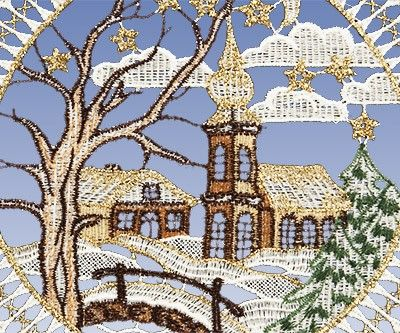 """FENSTERBILDER aus PLAUENER SPITZE zur Fensterdekoration. Bei diesen schönen Fensterbild """"Winterlandschaft"""" aus Plauener Spitze bekommt man Lust auf einen schönen Spaziergang im Winter."""