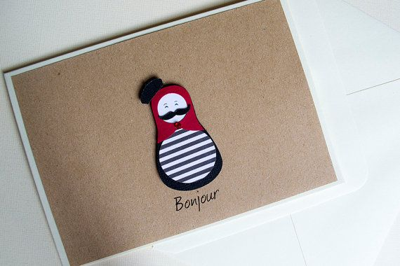 Bonjour Greeting Card by Le Petit Hibou on Etsy, €4.50
