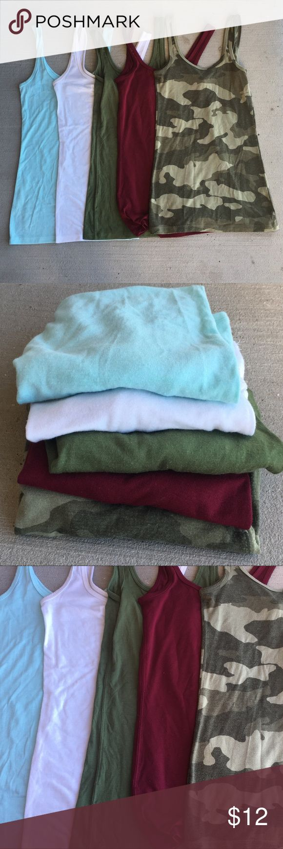 Tank top bundle 10/10 condition ‼️CAMO TANK TOP HAS SOLD!‼️ 4 body fitting tank tops! All size XS in good condition.  Colors: baby blue, army green, white, maroon, and camouflage. Please make sure you know the size of each item before buying the bundle.  🌷will not model 🌷no low ball offers 🌷no trades 🌷comment for measurements if needed 🌷bundle for discounts! Tops Tank Tops