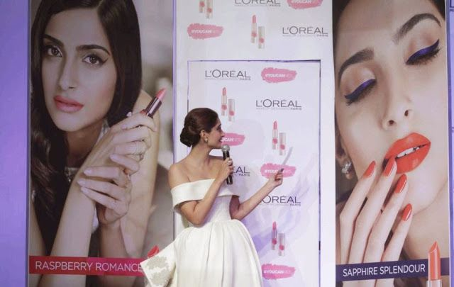 Sonam Kapoor Looks Breathtakingly Beautiful In White Dress At L'Oreal Paris Cannes 2015 Collection Launch In Mumbai | Kapoor Cleavage
